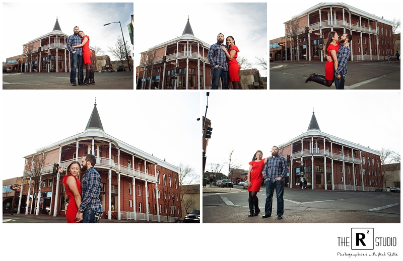 downtown flagstaff winter engagement session